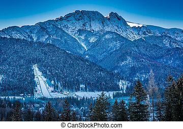 Giewont peak at dawn in Zakopane in winter, Tatra Mountains