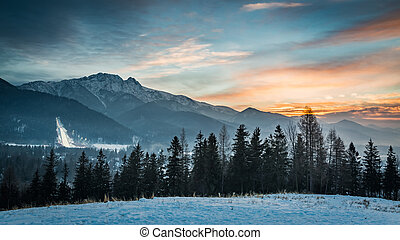 Skiing competitions in Zakopane in winter at sunset, Poland
