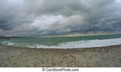 Storm sea and concrete pier - In Black Sea marine concrete...