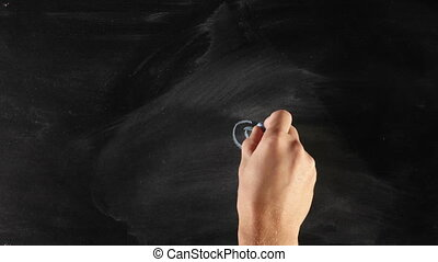 Worm in apple on blackboard - Drawing hand, chalk and...