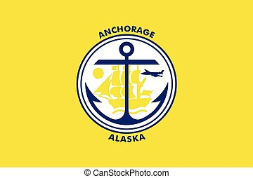 Flag of Anchorage, Alaska, USA. Vector Format