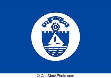 Flag of Bat Yam, Israel. Vector Format
