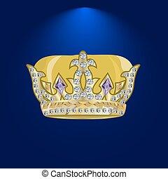 tiara with precious stones 1 . - Royal Golden Crown. Golden...