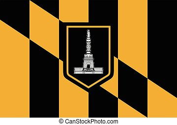 Flag of Baltimore, Maryland, USA. Vector Format