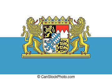 Flag of Bavaria with Coat of Arms, Germany. Vector Format