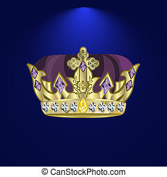 tiara with precious stones 4 - golden royal crown with...