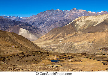 Landscape of Muktinath village in lower Mustang District,...