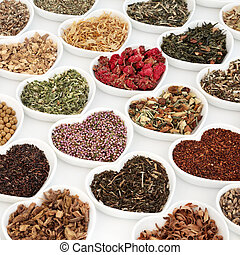 Herb Teas for Good Health - Herb tea collection in heart...