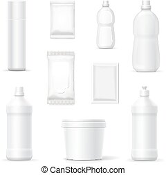 bottles or packages of detergents cleaning household products set