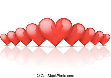 Realistic Red Romantic Hearts Background. Card and...