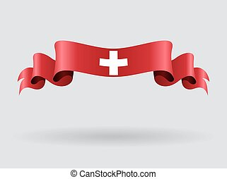 Swiss wavy flag. Vector illustration. - Swiss flag wavy...