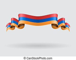 Armenian wavy flag. illustration. - Armenian flag wavy...
