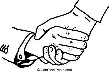 illustration vector doodle hand drawn of tight handshake...