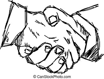 illustration vector doodle hand drawn sketch of handshake, partnership concept.