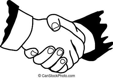 illustration vector doodle hand drawn of handshake between...