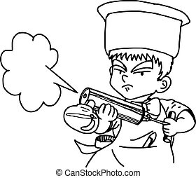 illustration vector doodle hand drawn of male waiter using...