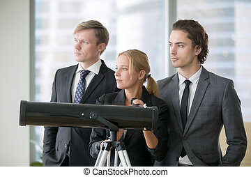 Group of business people with optic telescope - Group of...