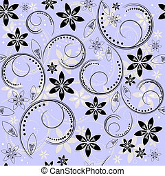 Seamless floral blue-black-white pattern