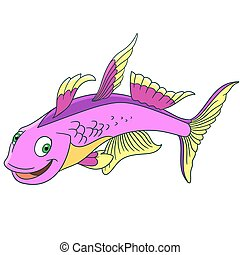 cartoon furcata fish - Cartoon furcata fish, isolated on...