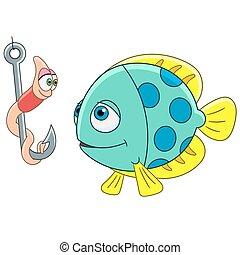 cartoon fish and worm - Cartoon fish and worm on a fishing...