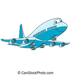 cartoon plane aircraft - Cartoon flying plane transport....