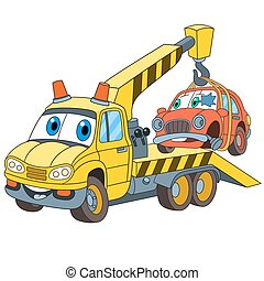 cartoon tow truck evacuator - Cartoon vehicle transport. Tow...