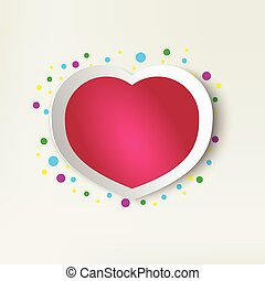 Pink paper heart isolated. Valentine for Valentine's Day...