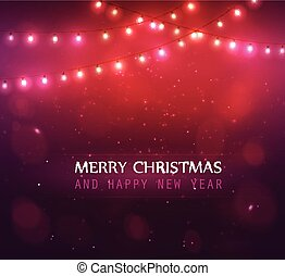 Colourful Glowing Christmas Lights. - Colourful Glowing Red...