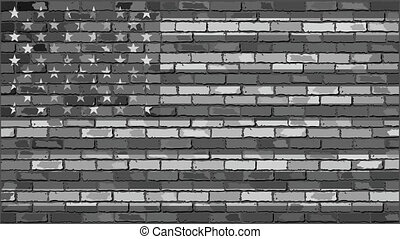 Brick Wall USA flag with effects, United States of America...