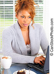 Coffee And Computer - Beautiful Female Student Surfing The...