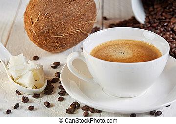 Bulletproof coffee and coconut on table - Bulletproof coffee...