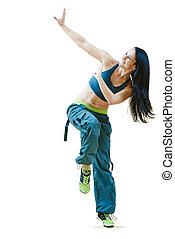 zumba dancing fitness exercises - female zumba instructor...