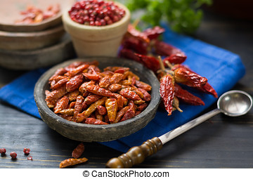 Red hot chili cayenne peppers dried, variety - spicy...