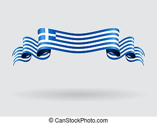 Greek wavy flag.illustration. - Greek flag wavy abstract...