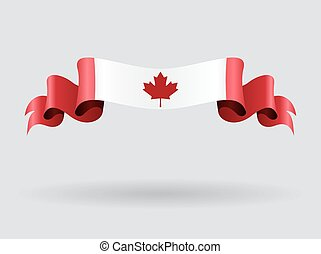 Canadian wavy flag. Vector illustration. - Canadian flag...
