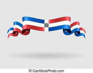 Dominican Republic wavy flag. Vector illustration. -...