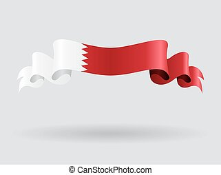 Bahrain wavy flag. Vector illustration. - Bahrain flag wavy...