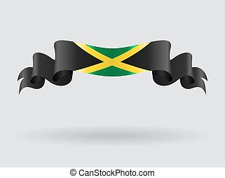 Jamaican wavy flag. Vector illustration. - Jamaican flag...