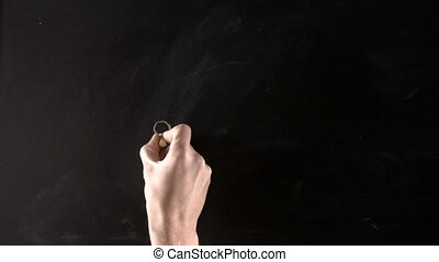 Dream on blackboard - Man's hand pictures person on...