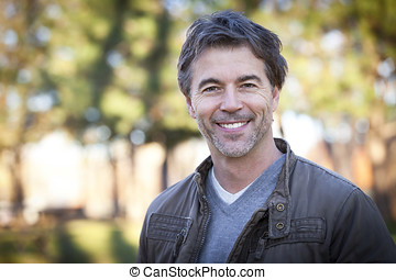 Handsome Mature Happy Man Smiling At The Camera.Outside. -...