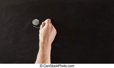 Chasing Idea on blackboard - Person running after idea,...