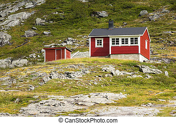 Landscape with cottage in Norway.