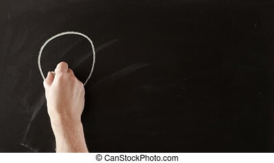 Idea equals money on blackboard - Blinking lamp with word...
