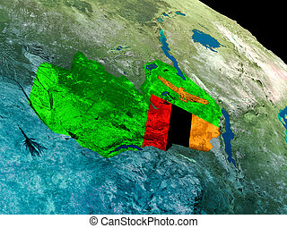 Flag of Zambia from space - Zambia with embedded national...