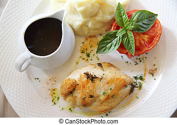 chicken breast steak grilled with red vine sauce italian...