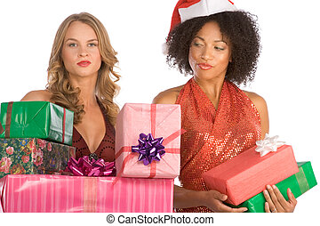 Christmas gifts discrimination between to women - Two...