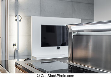 Interior with induction hob - Stylish interior with...