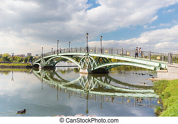 Arch bridge in Tsaritsyno - Pedestrian arch bridge in...