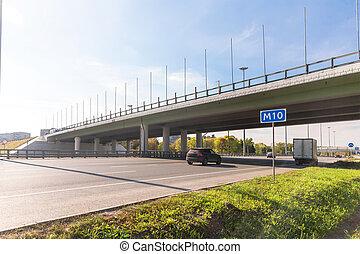 跨線橋,  multilane, ハイウェー