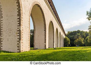 """Bridge in park """"Aqueduct"""" - Rostokino Aqueduct in Moscow,..."""